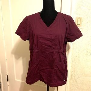Wine colored Koi scrub top